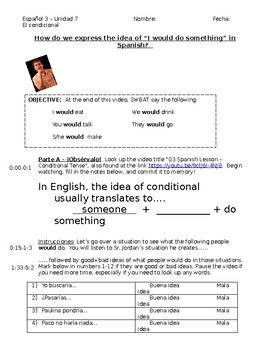 Conditional tense Spanish - flipped classroom