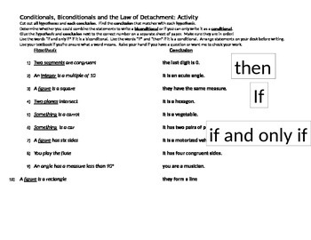 Conditionals, Biconditionals and the Law of Detachment: Activity