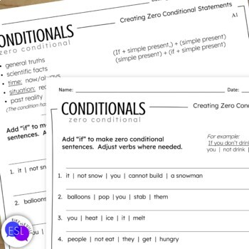 Conditionals: Grammar Guide with Worksheets