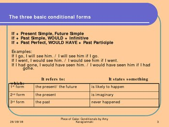 Conditionals - Piece of Cake, with theory and practice