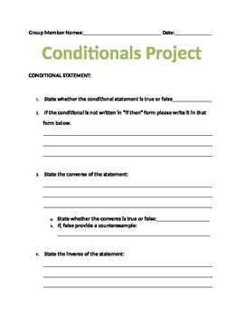 Conditionals Project on Converse, Inverse, and Contrapositive