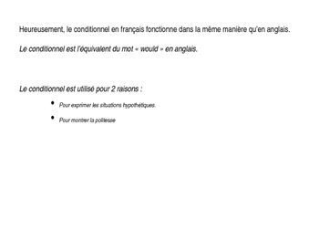 Conditionnel French Immersion Powerpoint Lesson