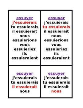 Conditionnel (French Spelling Change Verbs) Conditional Jeu des Sept Familles