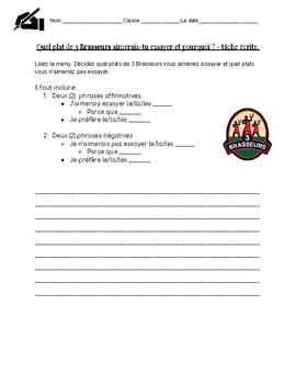 Conditionnel et preference reading comp/writing - Québec culture : FSL 8