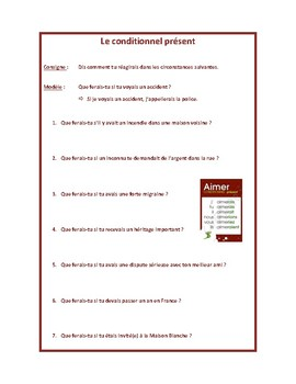 Conditionnel présent, present conditional, discussion questions in French