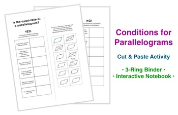 Conditions for Parallelograms Cut and Paste Notebook Activity