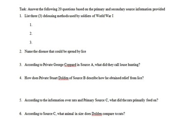 Conditions of Trench Warfare Primary & Secondary Source Assignment
