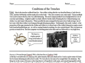 Conditions of Trench Warfare Primary & Secondary Source As