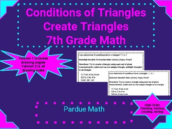 Conditions of a Triangle Creating Triangles 7.G.A.2