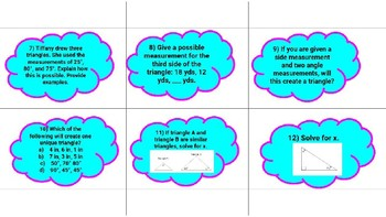 Conditions of a Triangle Scoot/Task Cards 7.G.A.2