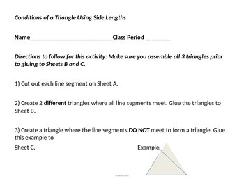 Conditions of a Triangle Using Side Lengths 7.G.A.2