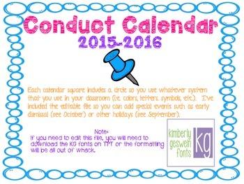 Conduct Calendar 2015-2016