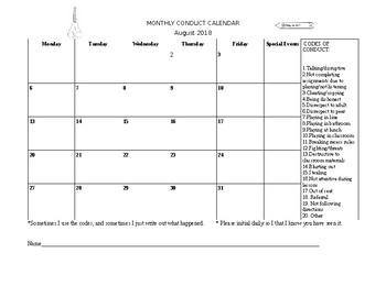 Conduct Calendars 2018-2019