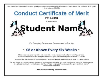 Conduct Certificate of Merit Award (editable)