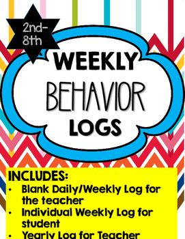Daily/Weekly/ Yearly Conduct/Behavior Logs for Teacher and Students