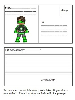 Conduct Sheet and Post Cards in Spanish