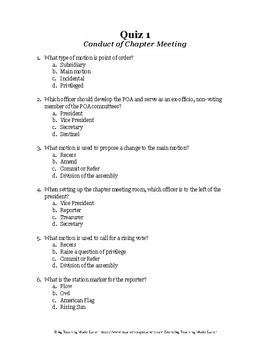 Conduct of Chapter Meeting LDE: Quiz 1