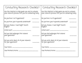 Conducting Research Student Checklist
