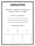 Conducting Worksheet - Elementary Music