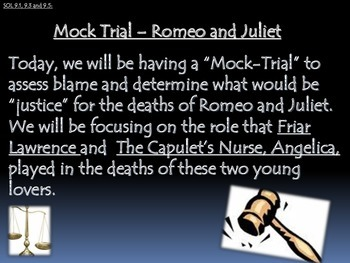 Conducting a Mock Trial - Romeo and Juliet