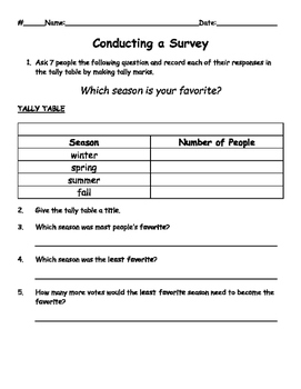 Conducting a Survey - Favorite Season (Tally Table & Pictograph)