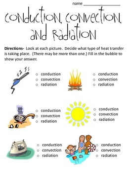 Conduction, Convection and Radiation Worksheet... by math and ...