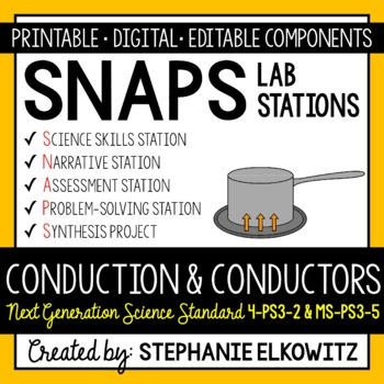 Conduction and Conductors Lab Stations Activity (NGSS 4-PS3-2 & MS-PS3-3)