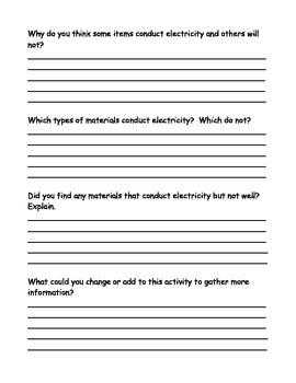 Conductivity Lab, Conductors, Insulators, Resistors, Circuits (Word and PDF )