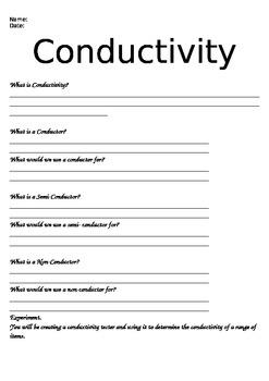 Conductivity worksheet