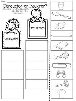 Electricity:Conductor and Insulator Cut and Paste Sorting Activity
