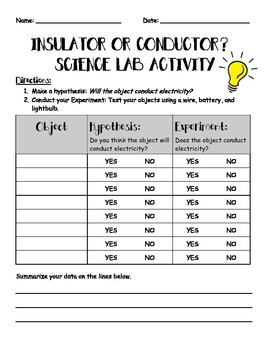Conductor or Insulator? Science Lab Activity