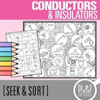 Conductors & Insulators Seek & Sort Doodle Page and Card Sort