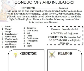 conductors and insulators by misskall teachers pay teachers circuit diagram worksheet grade 9