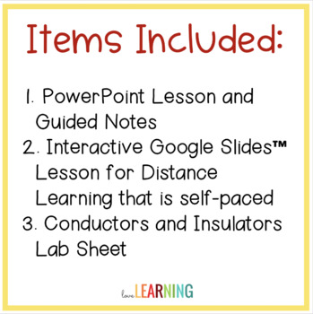 Conductors and Insulators {Lesson, Notes, Lab}