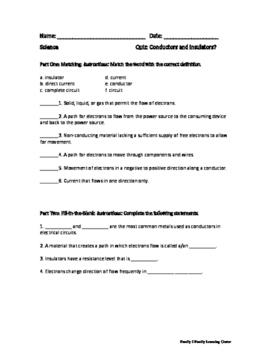 Conductors and Insulators Worksheet and Quiz