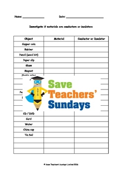 Conductors and insulators Lesson plan and Worksheet