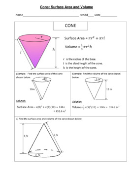 Cones Surface Area and Volume Practice Geometry