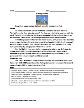 Coney Island Review Article History Facts Questions Vocabulary Word Search