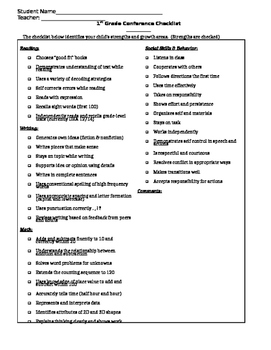 Conference Checklist for First Grade
