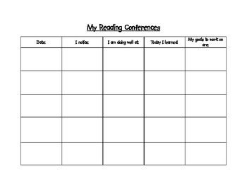 Conference Form for Guided Reading