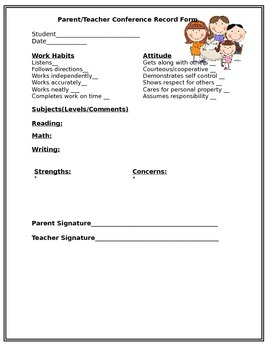 Conference Form for Kindergarten