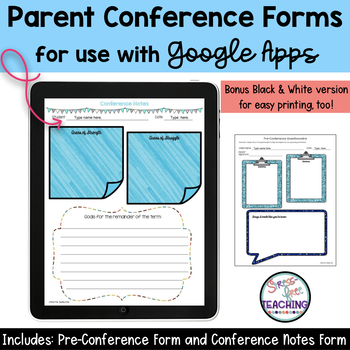 Parent Teacher Conference Forms Google Edition By StressFree Teaching