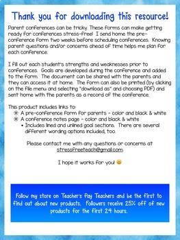Parent Teacher Conference Forms Google Edition