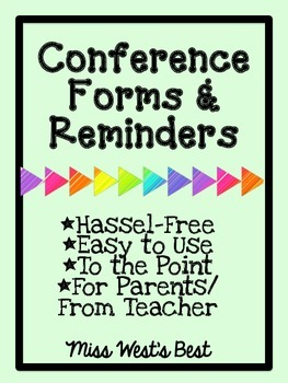 Editable Conference Forms and Reminders for Upper Elementary