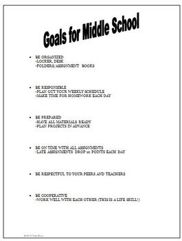 Conference Goals for Students for Middle School or Junior High