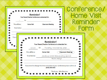 Conference/ Home Visit Reminder Form