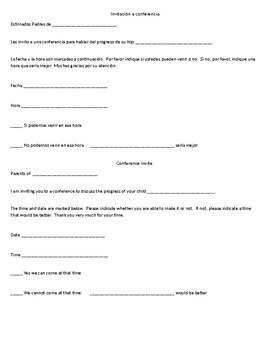 Conference Invite form English/Spanish