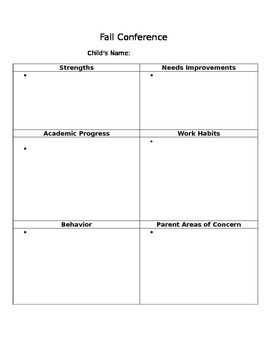 Conference Note Sheet and Parent Questionnaire