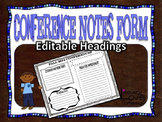 Conference Notes Form {Editable}