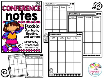 Conference Notes Pages for Each Subject!